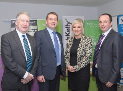 Dr. Sam Campbell, Chair, Rural Support; Gerard Gildernew, Cavanagh Kelly; Michelle O'Neill, Minister of Agriculture & Rural Development and Jude McCann, Chief Executive, Rural Support