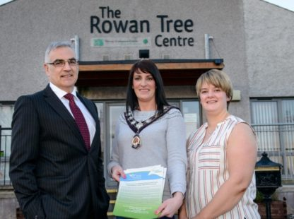 Pictured at the event is Chief Executive of Simple Power, Philip Rainey, Chair of Mid-Ulster Council, Linda Dillon and Melissa Wylie, Outreach and Promotion Officer for Rural Support