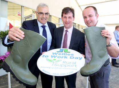 Simple Power Chief Executive, Philip Rainey is joined by Ulster Farmers Union Chief Executive Wesley Aston and Rural Support Chief Executive, Jude McCann to launch the second Wellies to Work Day